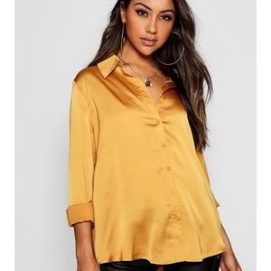 MWT gold satin shirt